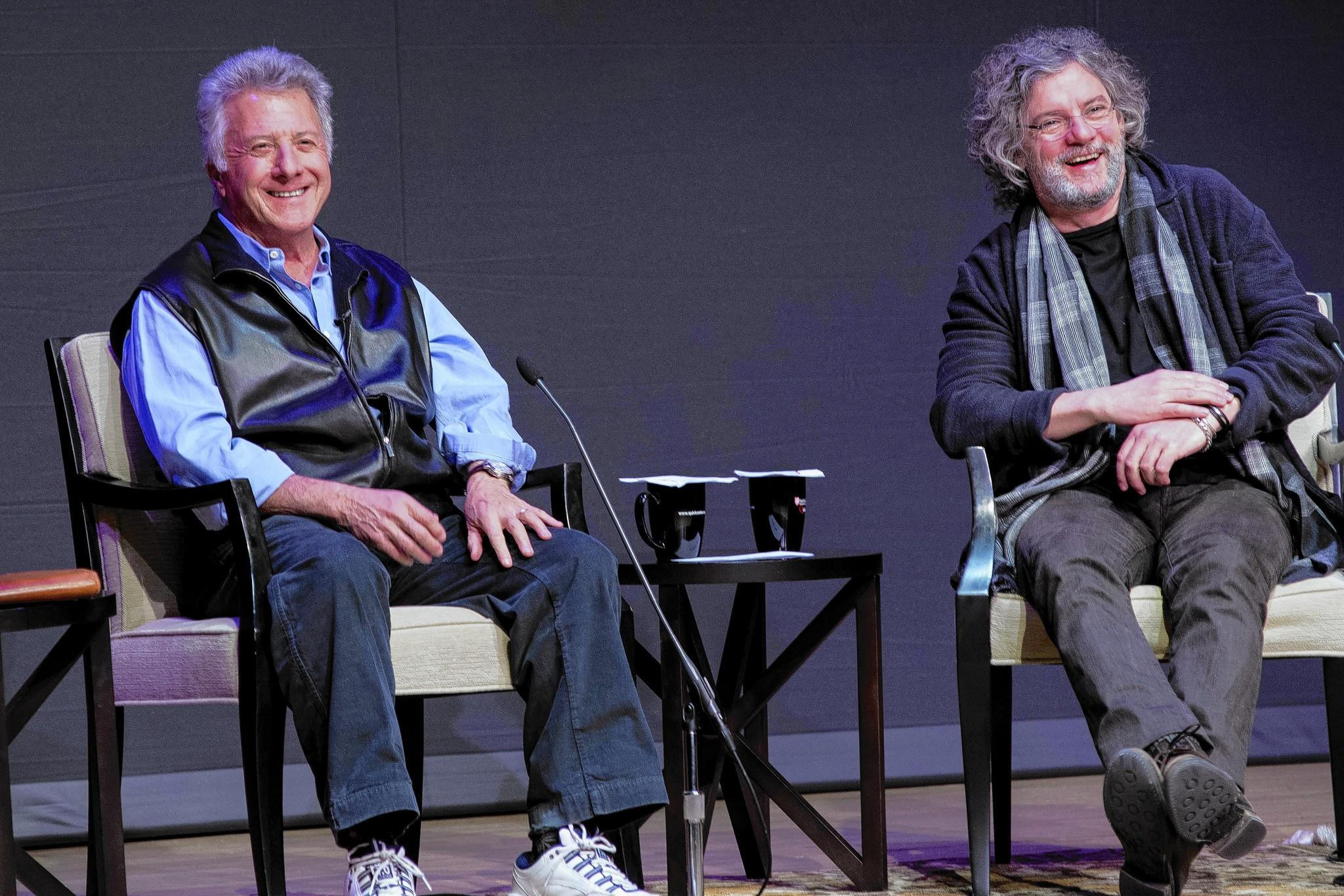 "Actor Dustin Hoffman and director François Girard (left-right) on stage at Fairfield University's Regina A. Quick Center for the Arts in Fairfield, Conn., on Thursday, February 20, 2014. In a appearance presented by Fairfield University, ""An Award-Winning Conversation."""