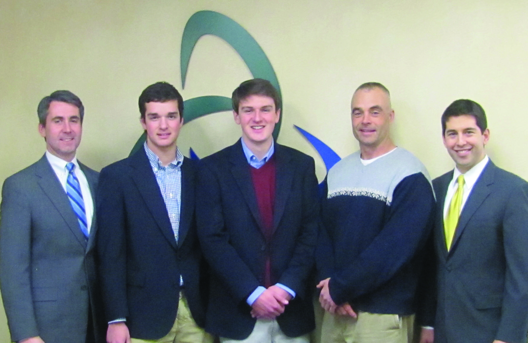 From left to right: Denis Horrigan, Brian Gellman, Jakob Gattinger, SHS Stock Market Club advisor Robert Avery, Jarrett Solomon.