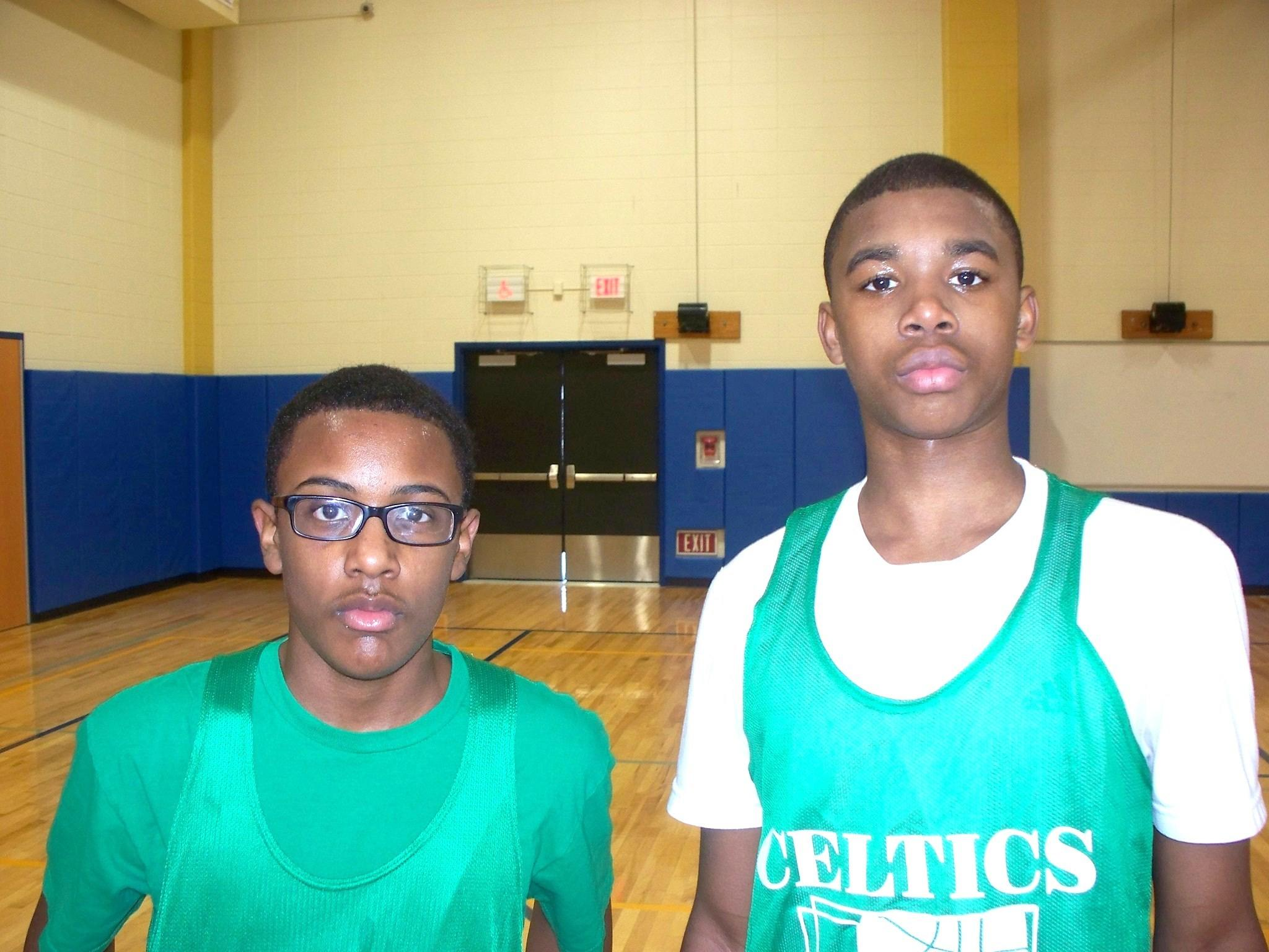 From left to right: Celtics Ryan Bettis-Allen and Phillip Underwood both scored 13 points each in leading the Celtics to a 39-31 week four victory over the Pistons on Sat. Feb. 8 in Bloomfield Youth Basketball League (BYBL) play.
