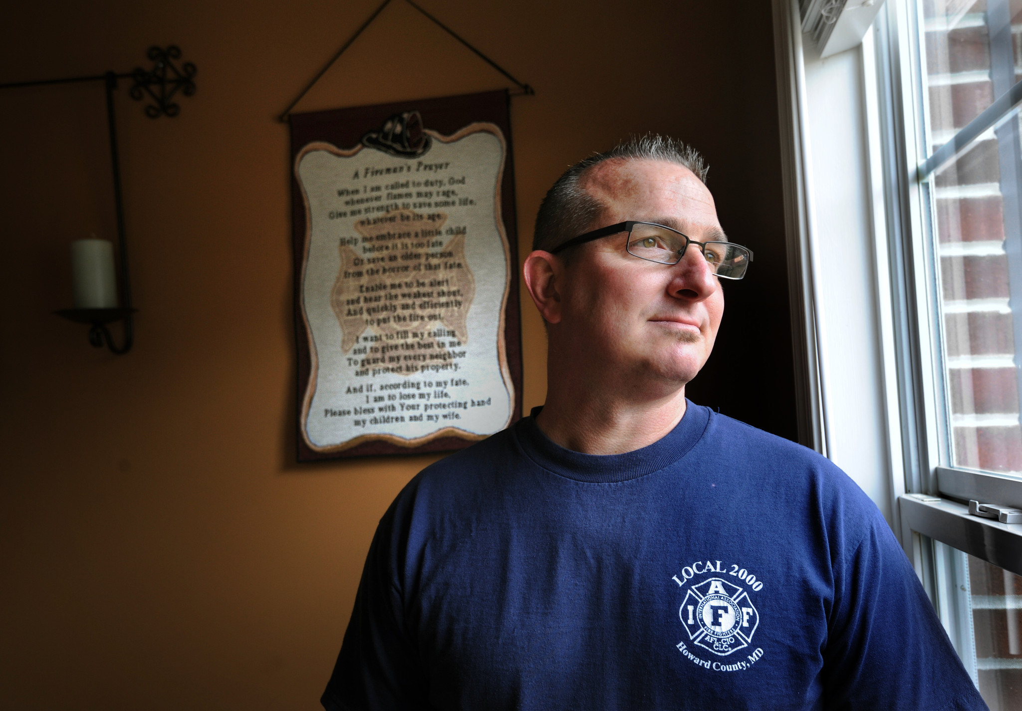 Howard County firefighter John Orth was diagnosed with cancer in May 2012 at age 44. He blames the disease on chemicals he was exposed to on the job.