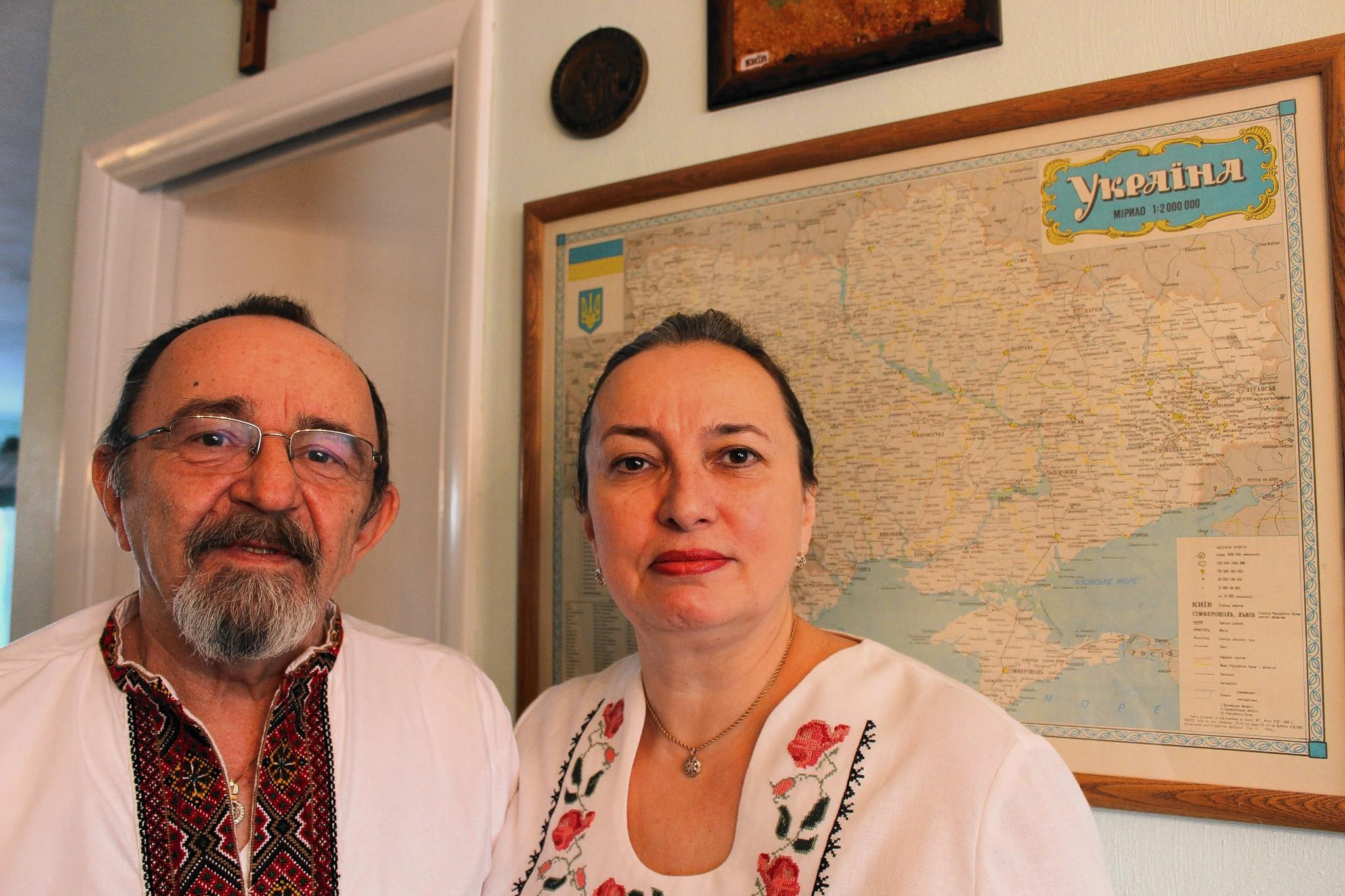Photo attached – Caption: George and Oksana Makowiec at their home in Seward. The couple have been worried for family in Ukraine since protests there turned violent this week.