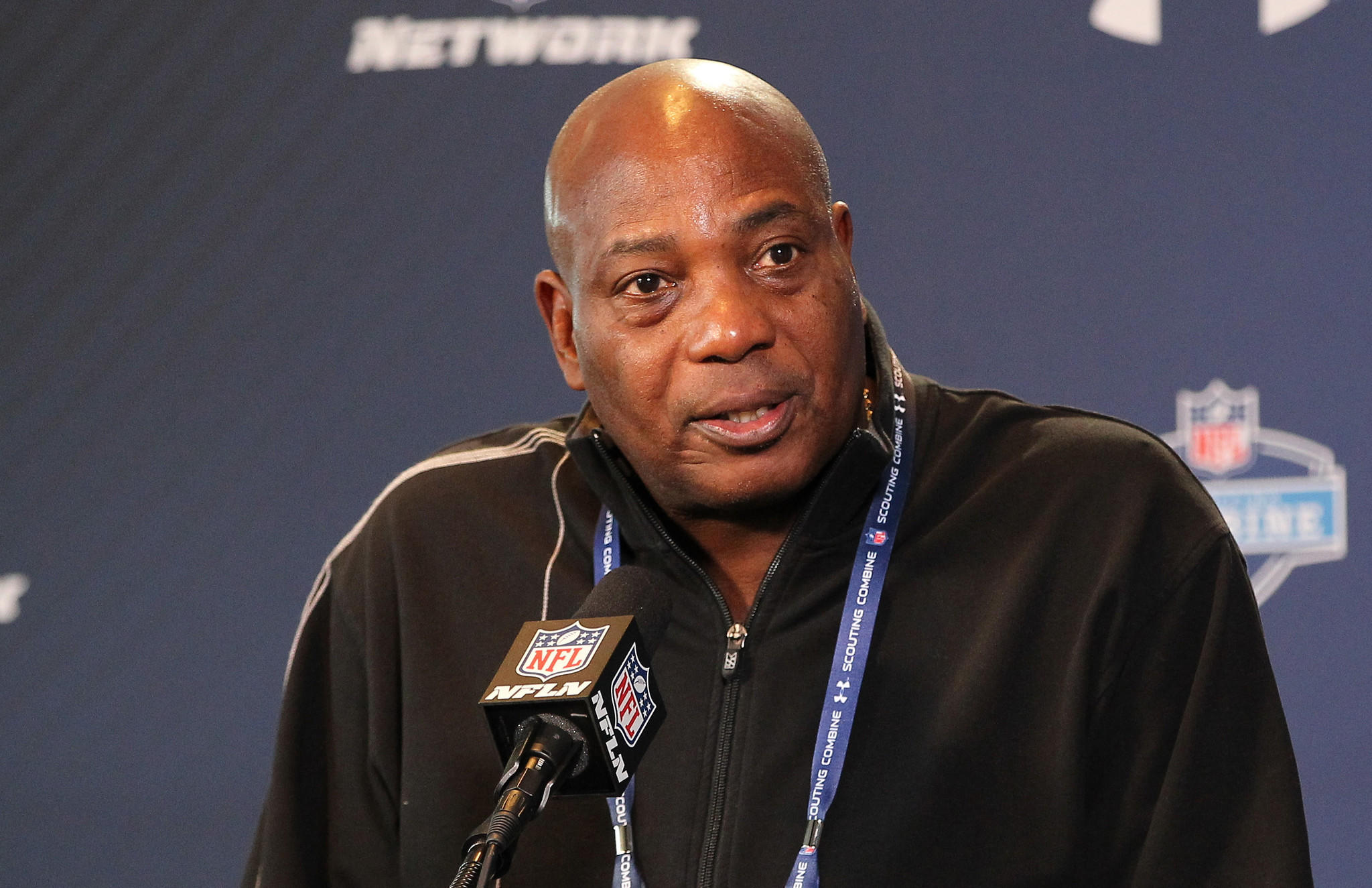 Ravens general manager Ozzie Newsome discusses the team during an appearance at the NFL scouting combine in Indianapolis.