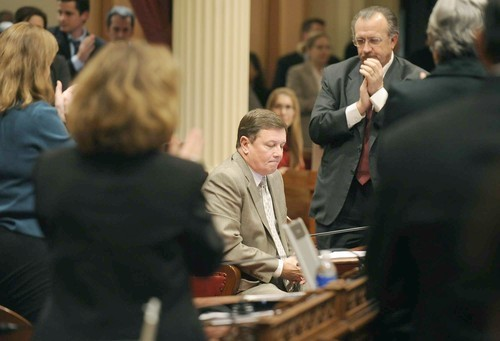 Former state Sen. Dave Cogdill (R-Modesto), seated on the floor in 2010. (Wally Skalij / Los Angeles Times)