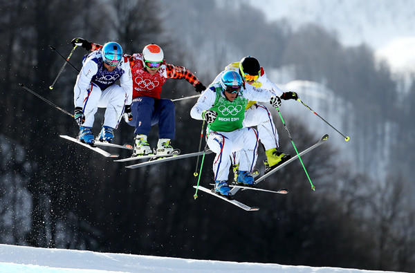 Gold medalist Jean Frederic Chapuis (green) leads the pack in the ski cross final on Thursday at the Sochi Olympics.