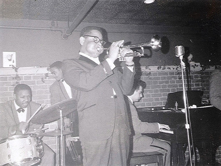 Jazz great Dizzy Gillespie (1917-1993) performs in February 1962 at the Heublein Hotel on Gold Street in Hartford.