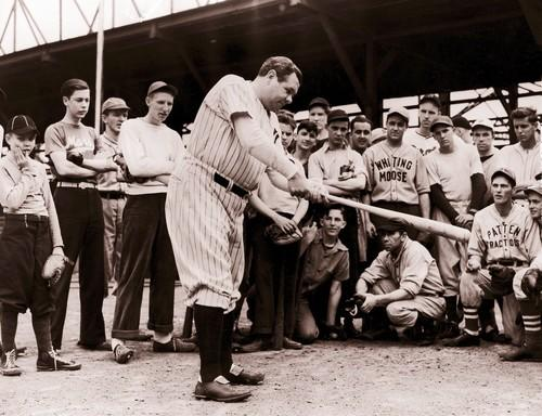 Babe Ruth visited Mills Stadium in Chicago to give youngsters lessons on hitting in June 1940.