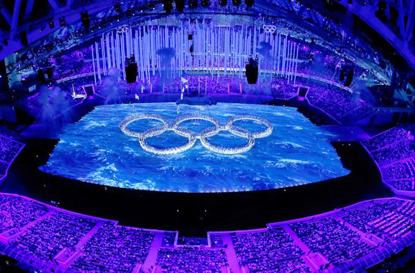 Dancers form the Olympic rings during the closing ceremony of the Winter Games on Sunday in Sochi, Russia.