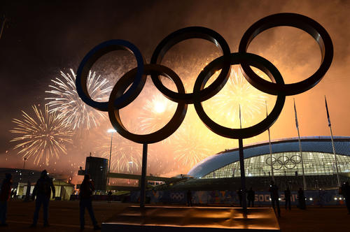 Fireworks explode around Fisht Olympic Stadium at the end of the 2014 Winter Olympics Closing Ceremony.