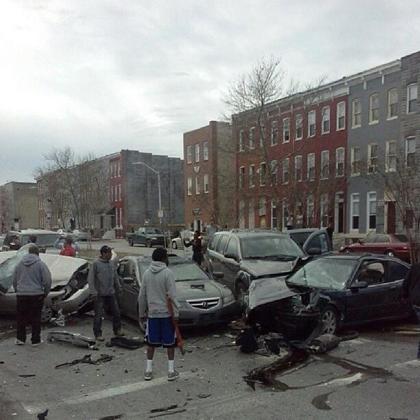 A man was killed and 12 people were injured in an accident Sunday morning at the intersection of North Fulton Avenue and Presstman Street in Baltimore.