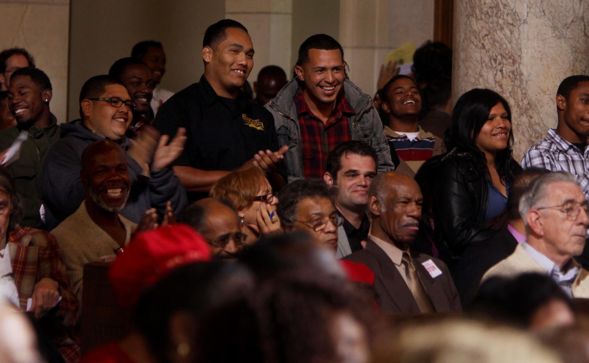 In this March 2012 photo, people listen to a Los Angeles City Council meeting. Like many government bodies across the country, the L.A. council has often wrestled with how to regulate public comments and keep meetings orderly.