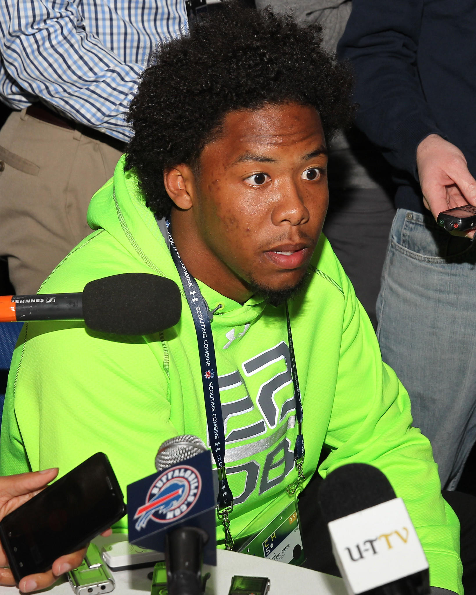 Defensive back Kyle Fuller speaks to the media during the 2014 NFL scouting combine in Indianapolis on Sunday.