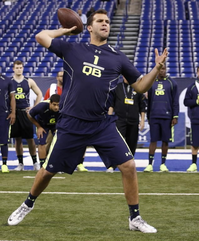 quarterback Blake Bortles throws the ball during the 2014 NFL Combine at Lucas Oil Stadium. (Brian Spurlock-USA TODAY Sports)