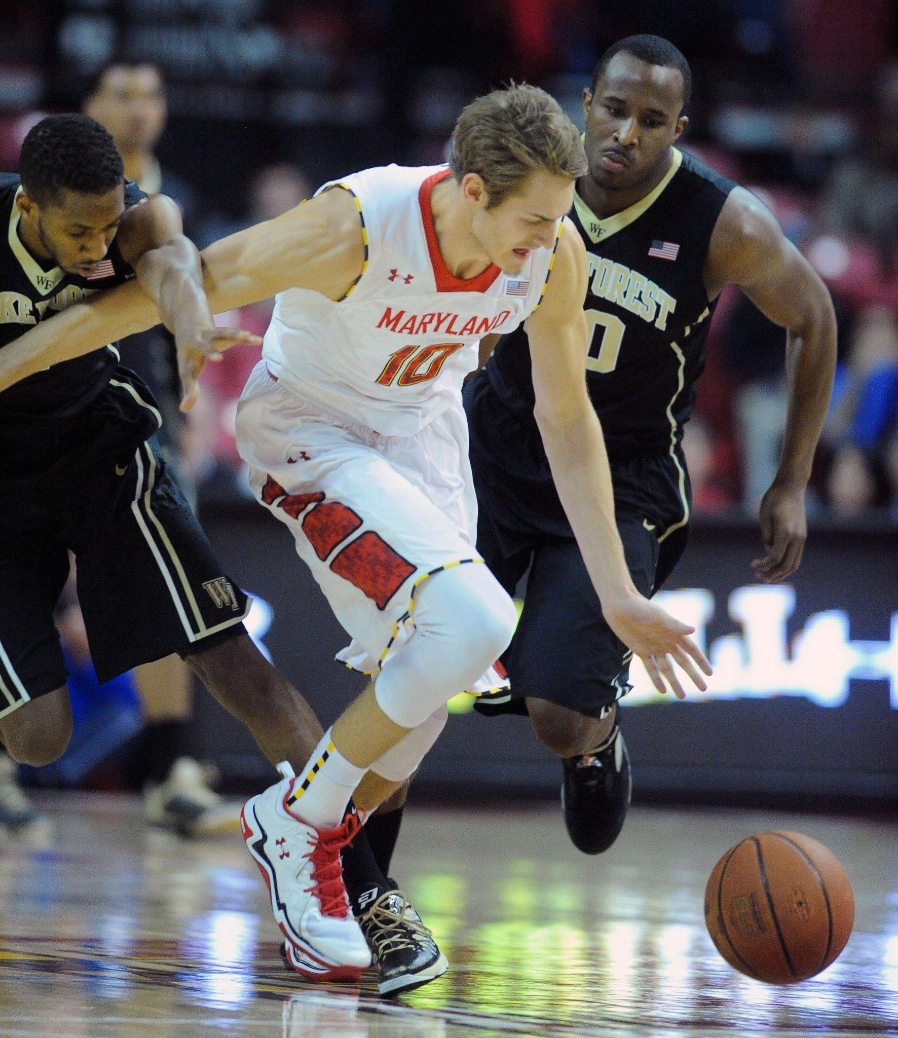 Terps' Jake Layman steals the ball against Wake Forest.