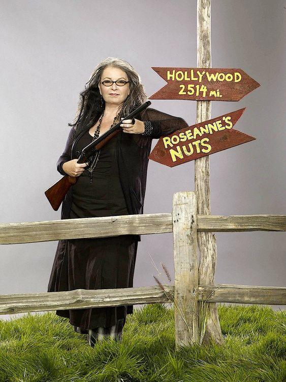 "Get it? Because Roseanne Barr's ""crazy,"" but also now manages a macadamia nut farm. And wards off intruders with a rifle, apparently."