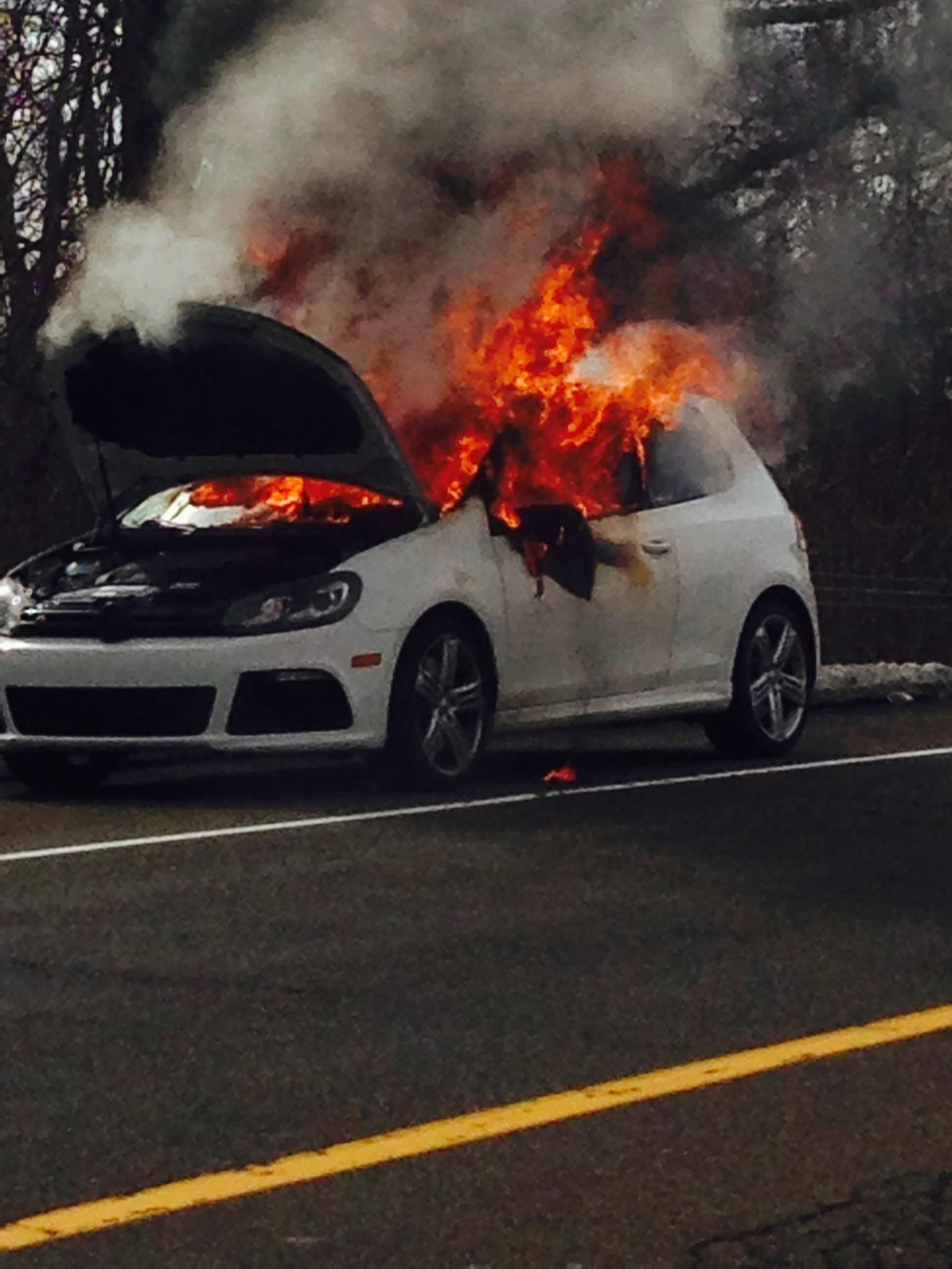 A car fire on I-95 in Fairfield closed an exit ramp for an hour on Sunday.