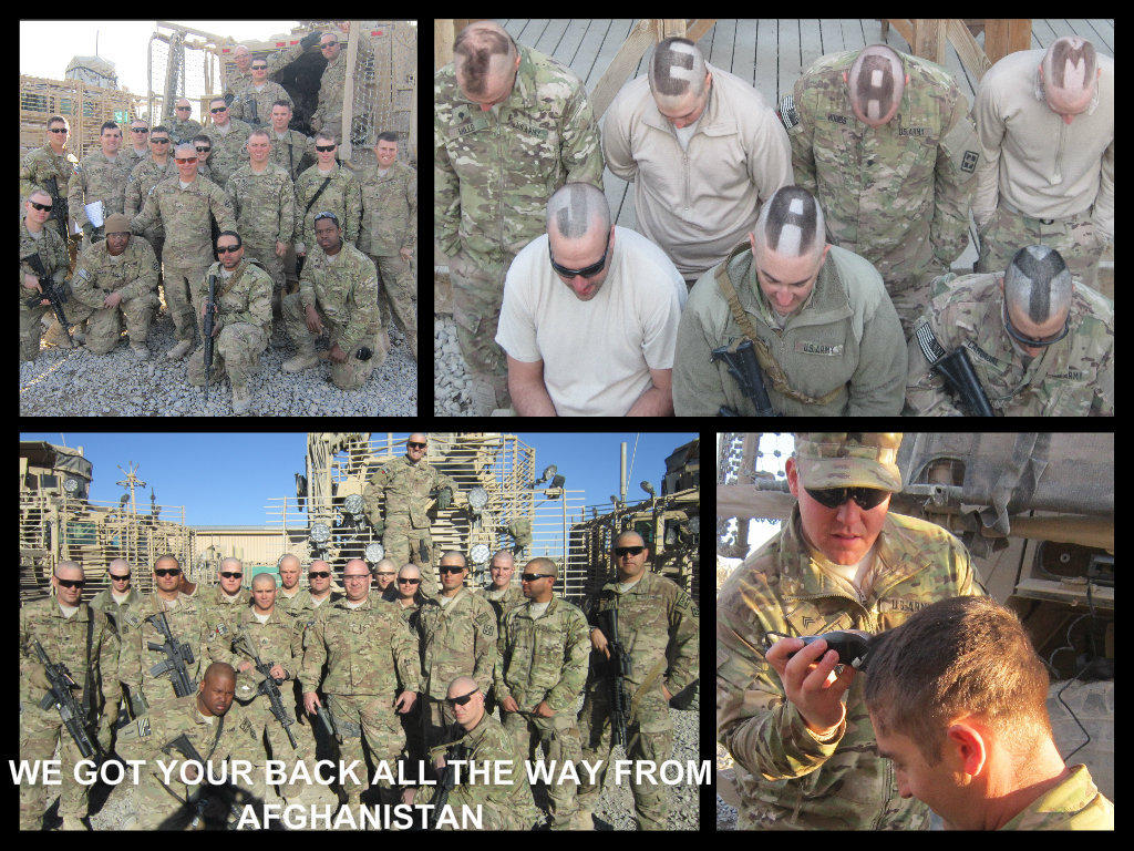 A photo collage the soldiers made for the family of 7-year-old Jay Ryon, a Florida boy who is battling leukemia.