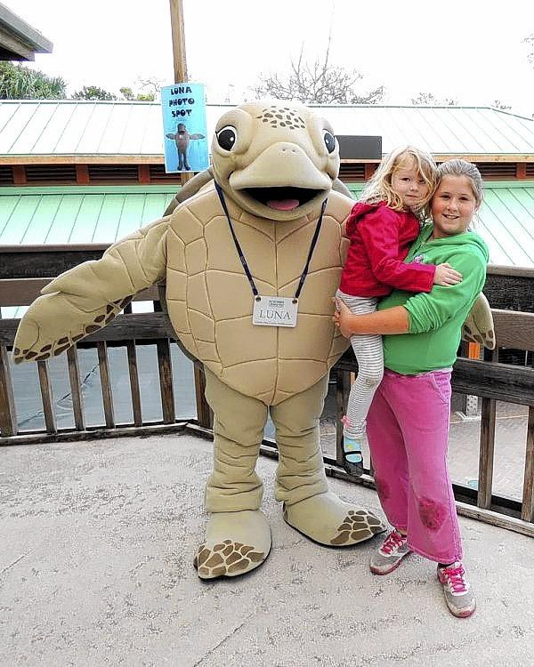 """In the picture with """"Luna,"""" Gumbo Limbo Nature Center's mascot, at last year's Sea Turtle Day Festival were, from left, Ashlyn McCallum holding Rylie Child."""