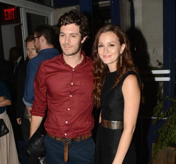 """Adam Brody (left) and Leighton Meester (right) attend after party for """"The Oranges"""" screening at Jimmy's at The James Hotel Sept. 14, 2012 in New York City."""
