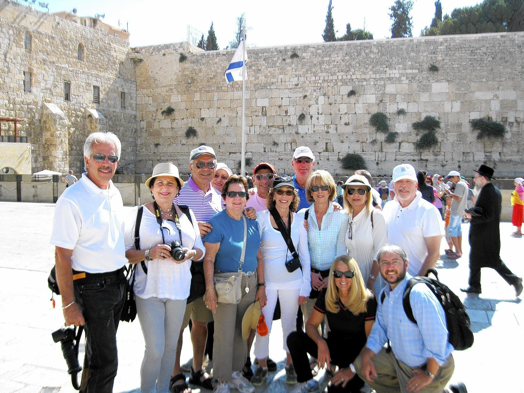 Participants on the June 2013 Boomers Birthright tour to Israel with tour leader Rabbi Baruch Plotkin (bottom right).