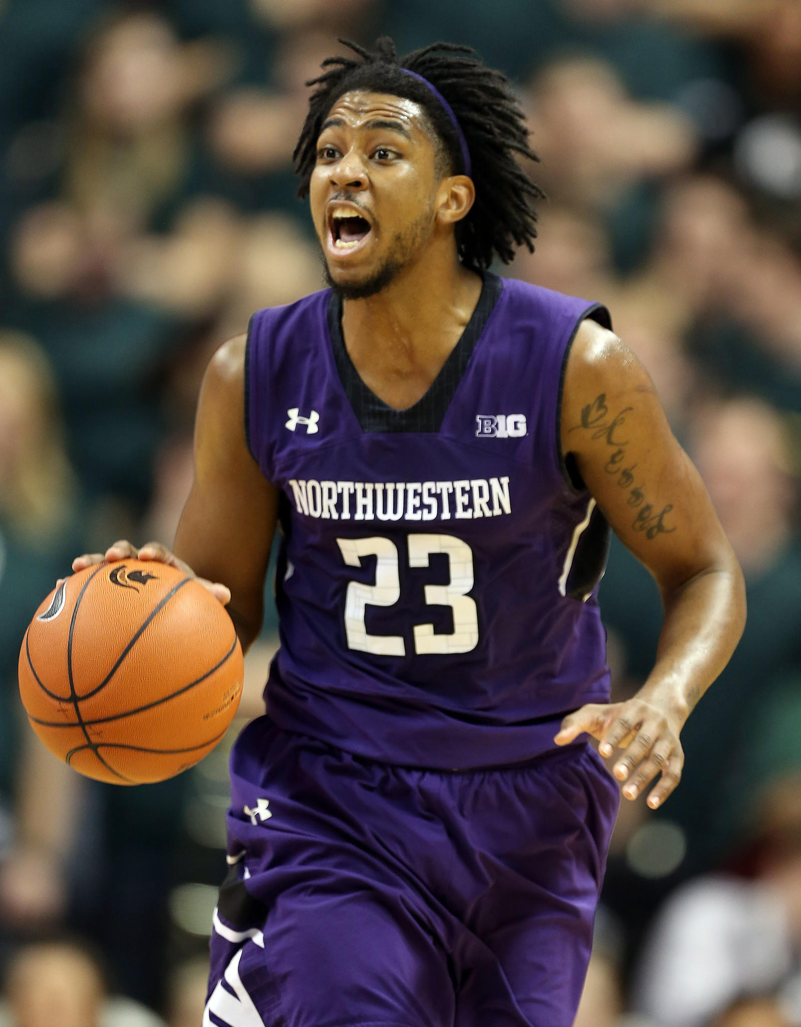 Northwestern guard JerShon Cobb brings the ball up court against Michigan State during a recent game.