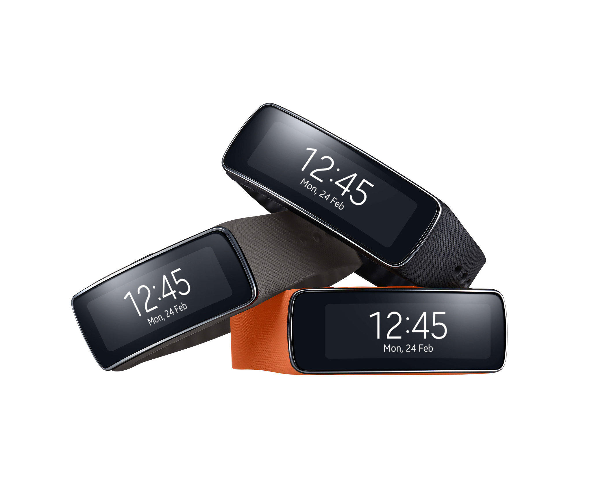 The Samsung Gear Fit is a fitness tracking band that will go on sale in April.
