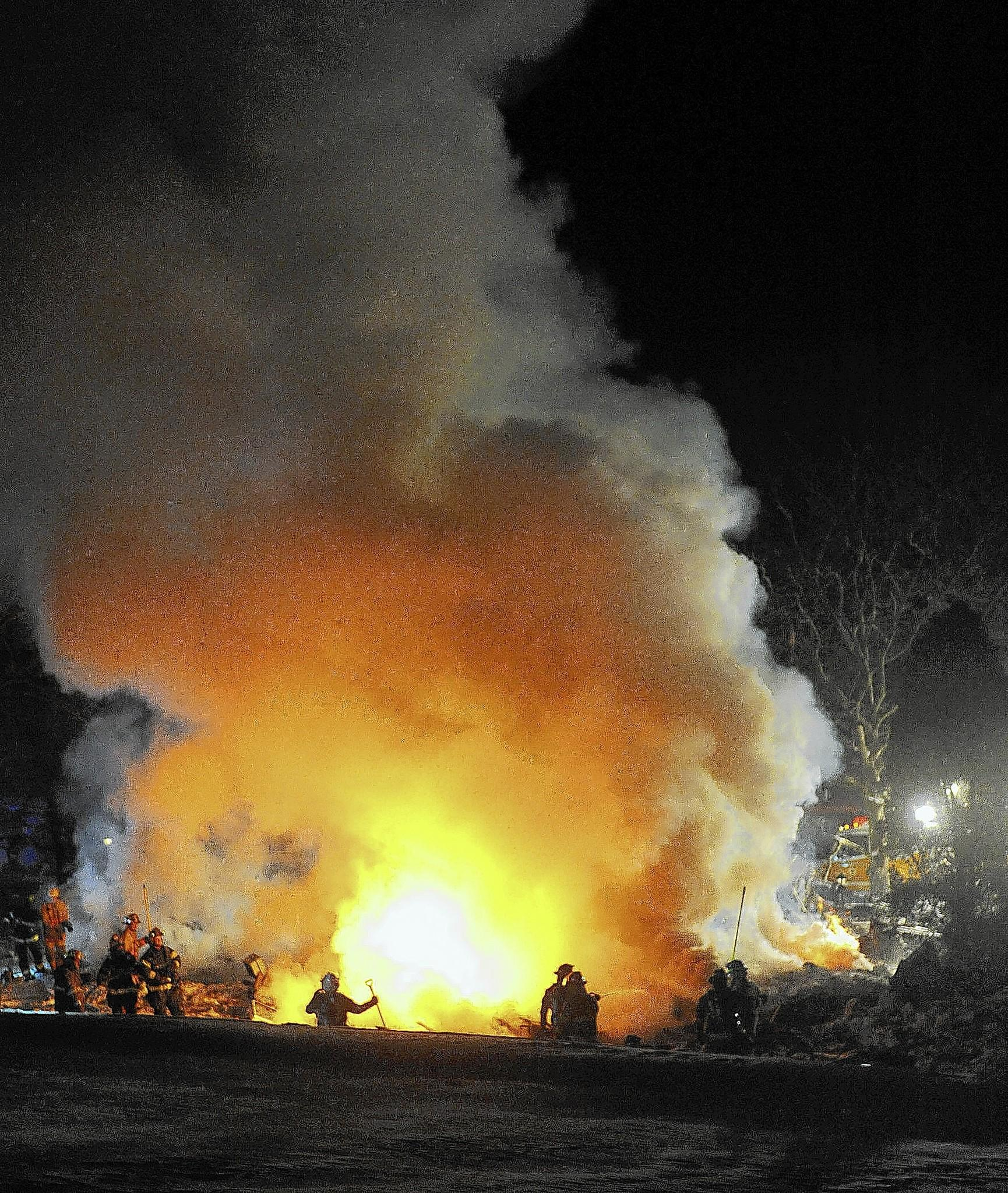 Volunteer firefighters from the Klecknersville Rangers and several other departments responded to an explosion at 118 Hickory Hills Drive the Hickory Hills mobile home park Feb. 14. State police on Monday ruled the cause of the fire was a propane leak. William D. Neith Sr., 65, was killed in the fire.