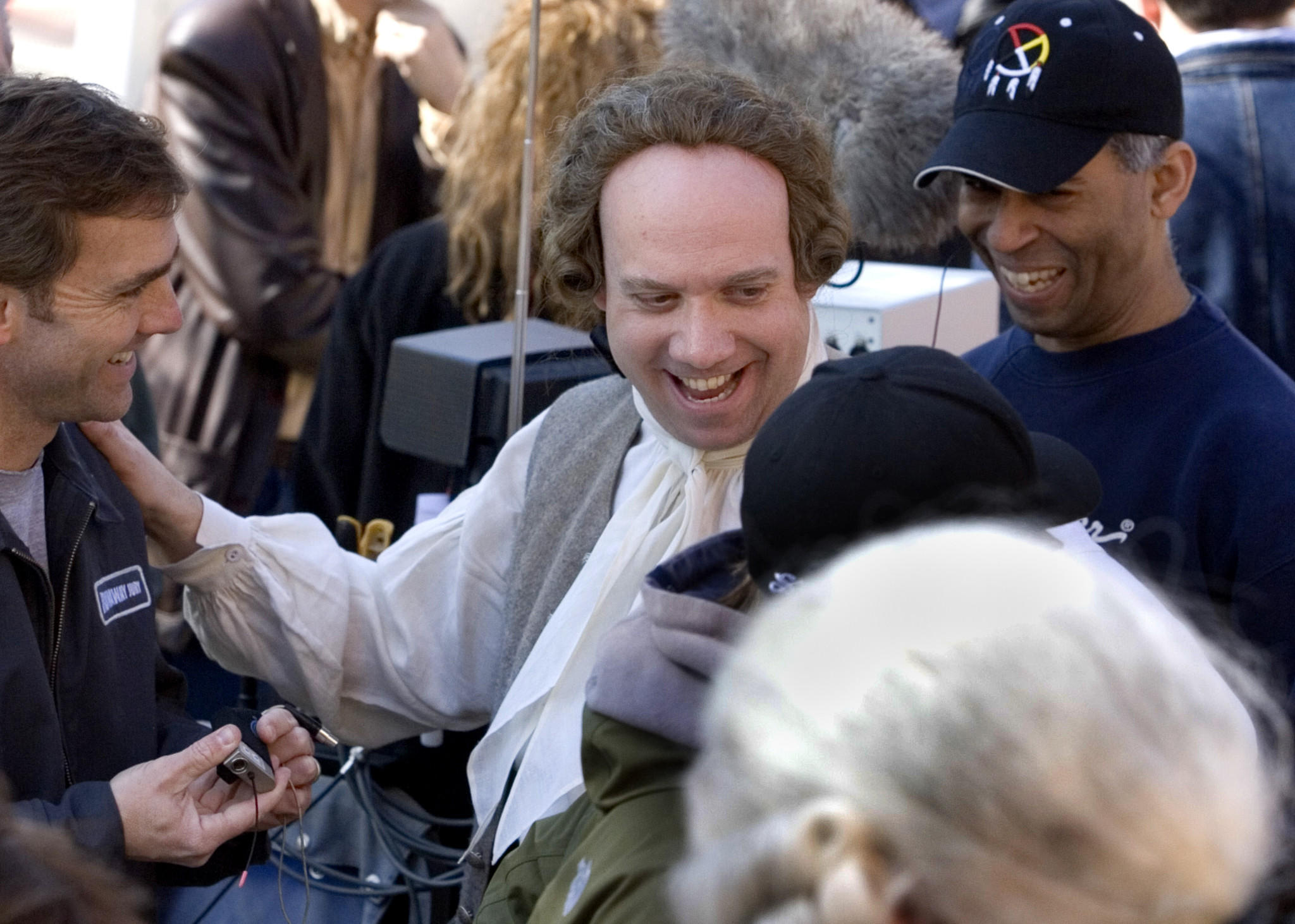 """John Adams,"" an HBO miniseries, filmed in Colonial Williamsburg in 2007. Actor Paul Giamatti who portrayed Adams arrived on the set in this file image."