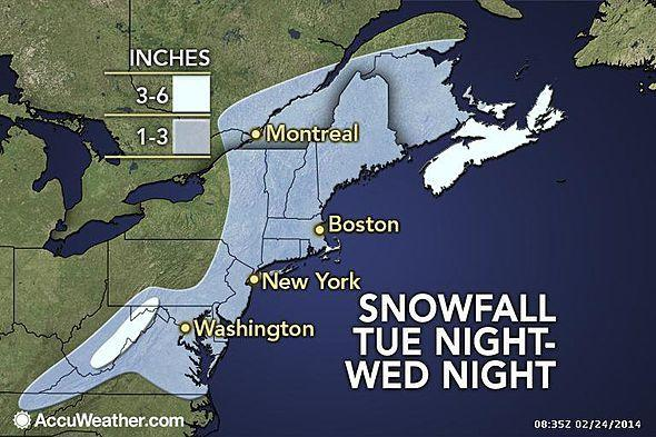 Light snow is forecast across the Northeast on Tuesday and Wednesday.