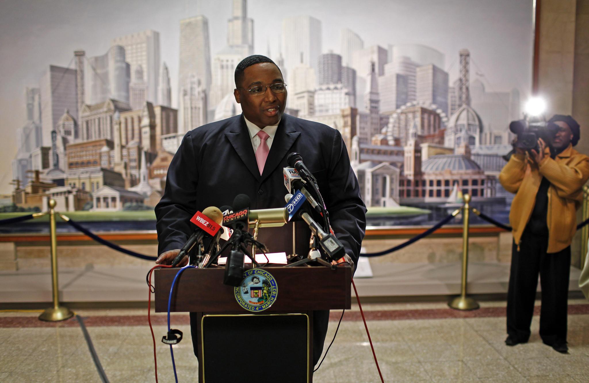 Chicago Ald. Jason Ervin speaks during a press conference on April 10, 2012.