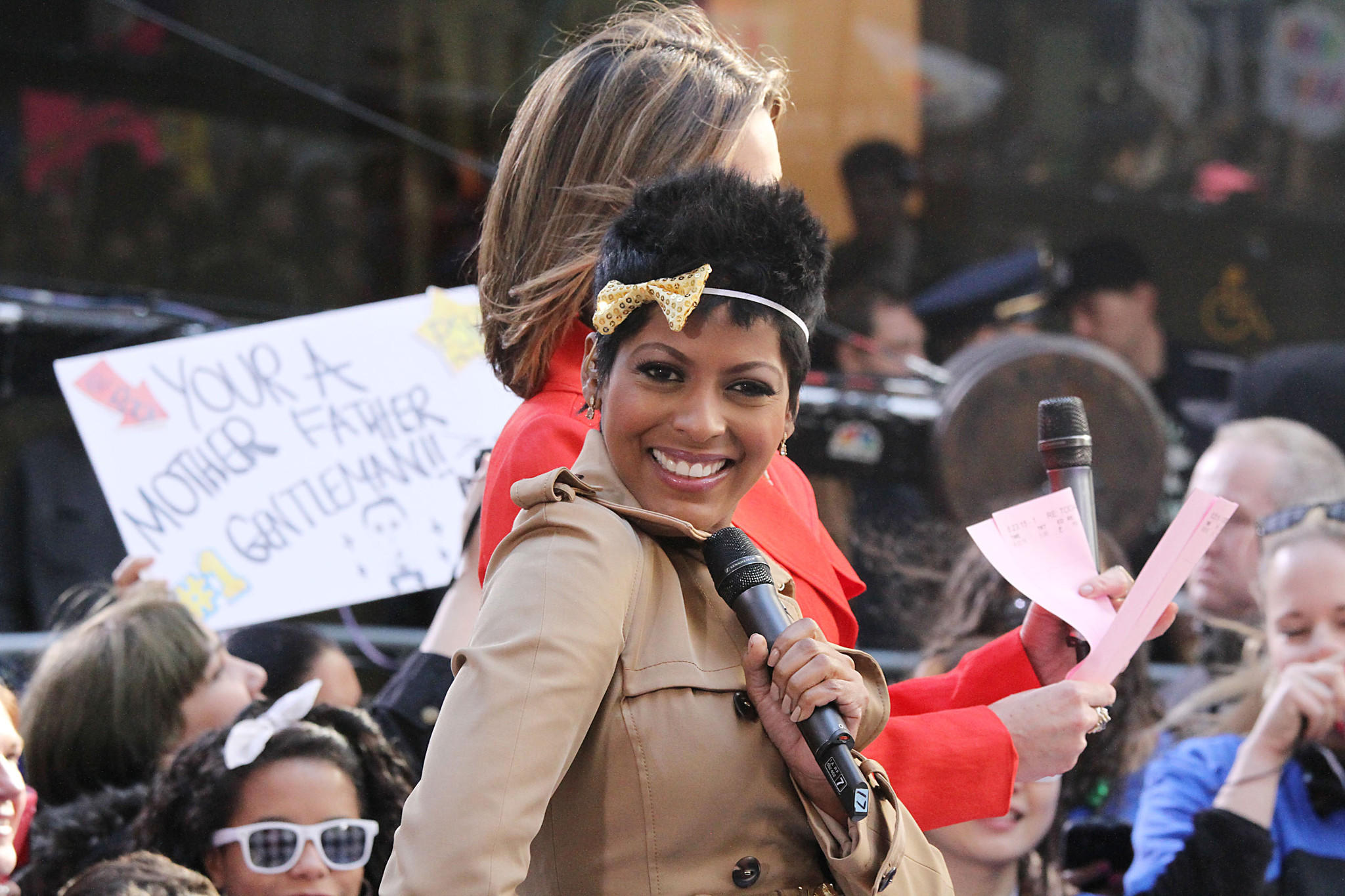 """Today Show"" host Tamron Hall attends Psy's concert at TODAY Plaza May 2013 in New York."