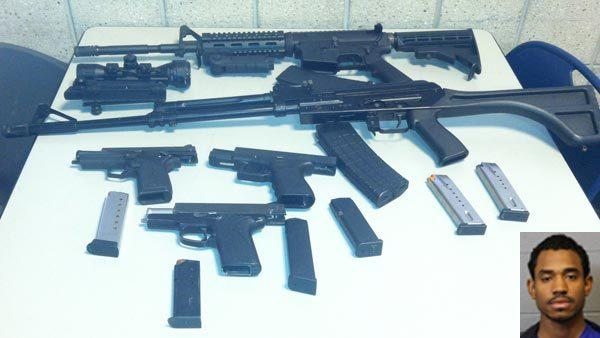 Jason E. Juarez (inset), weapons found by police.