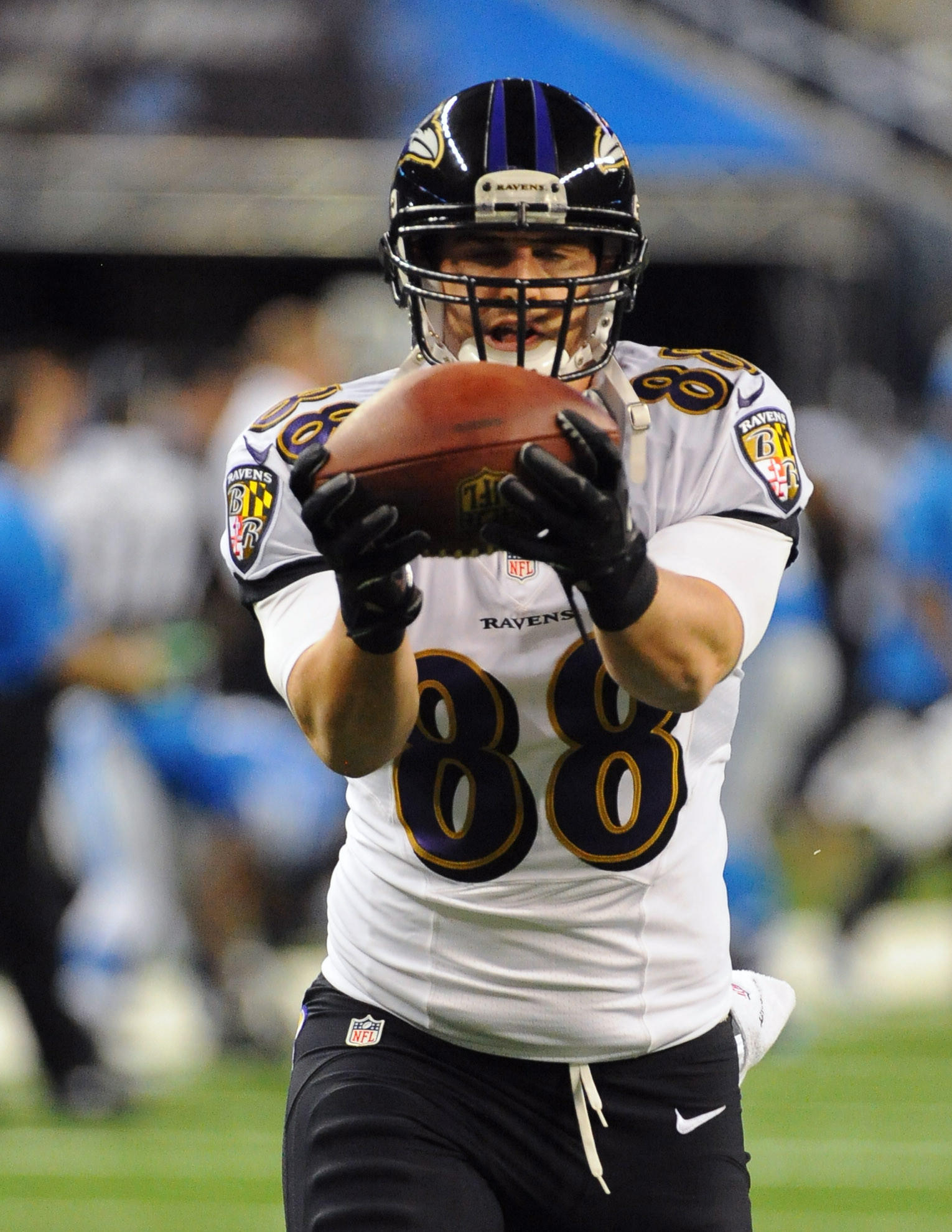 Ravens tight end Dennis Pitta before a game against the Detroit Lions in December.