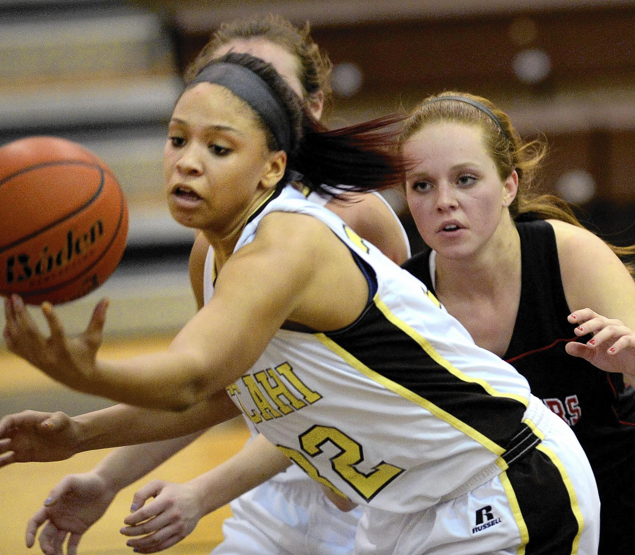 Bethlehem Catholic's Kalista Walters (left) has position on Saucon Valley's Bridget Gilmore during the District 11 Class 3A quarterfinals at Catasauqua High last Saturday.