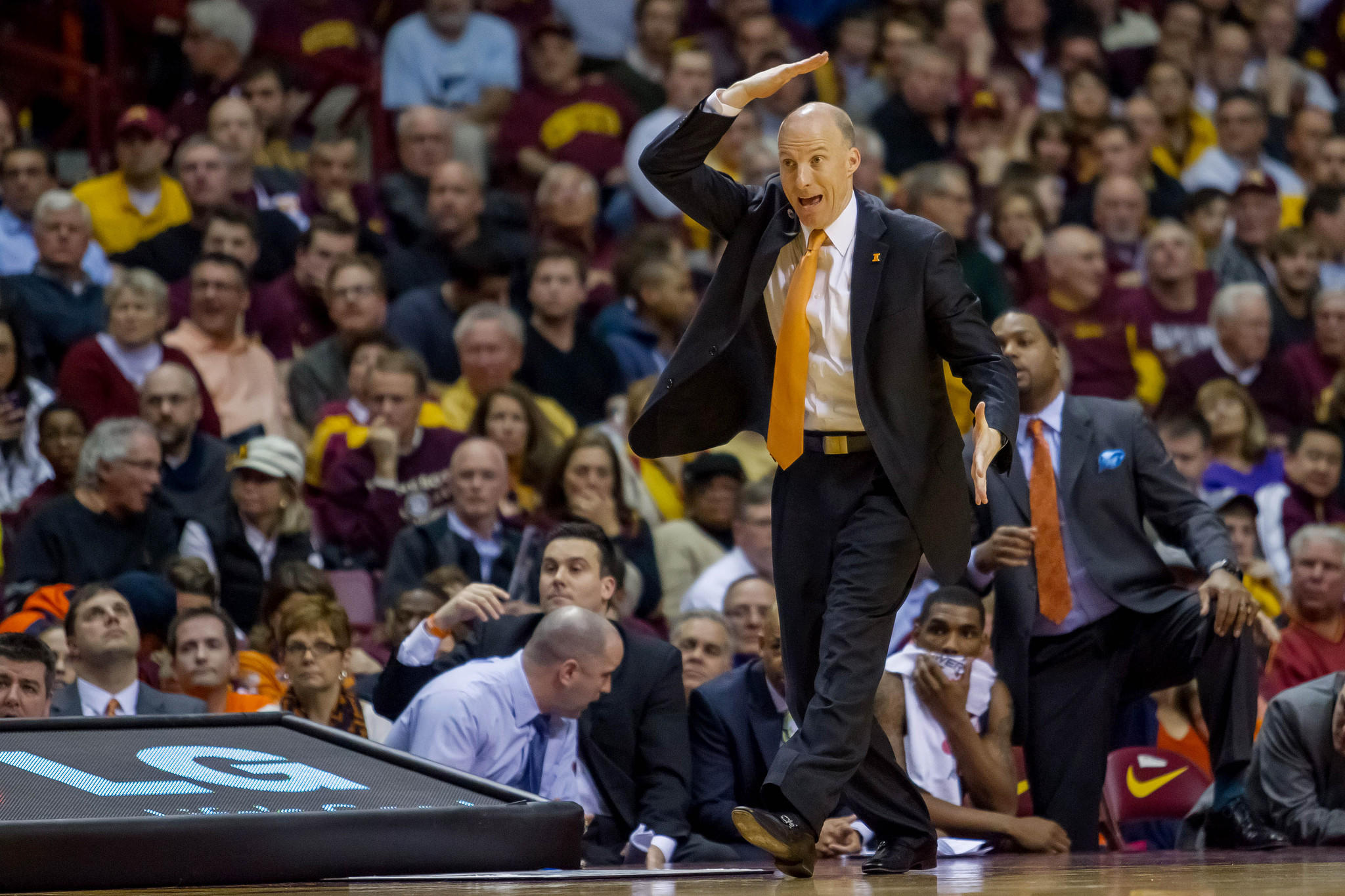 Illini coach John Groce in the second half against Minnesota Gophers at Williams Arena. Illinois won 62-49.
