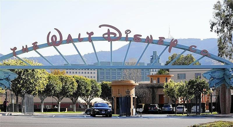 The entrance gate to The Walt Disney Co. is pictured in Burbank.
