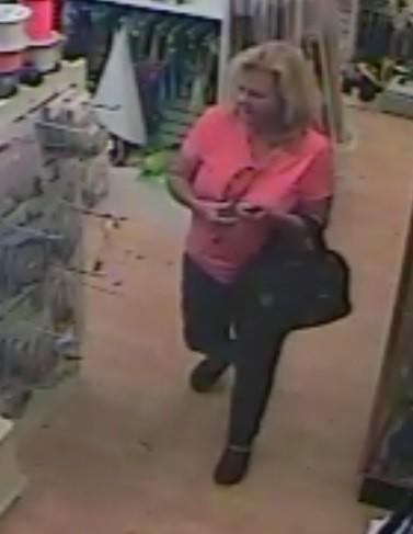 Riviera Beach Police are searching for this woman, accused of stealing a $300 fishing reel on Friday.