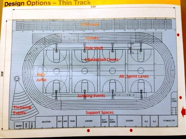 This is one option for the interior layout of a field house at Manchester High School. The plans were drafted by The SLAM Collaborative, an architectural firm.