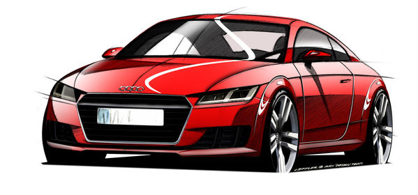 This sketch previews what the all-new, third-generation Audi TT coupe will look like when it debuts at the Geneva Motor Show on March 4.