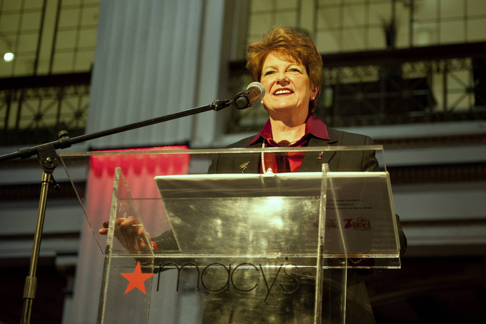 Sharon O'Keefe speaks for a photo during the Go Red For Women Luncheon at Macy's Walnut Room