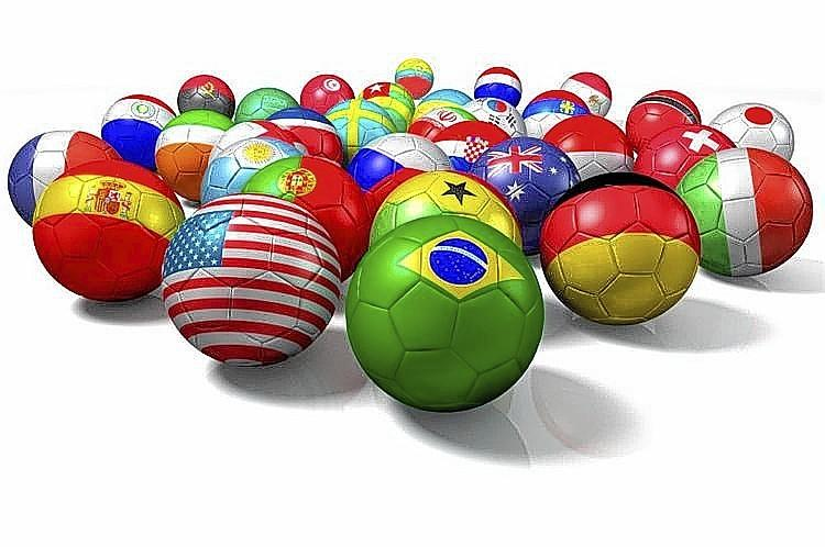 Image of soccer balls representing countries from around the world used to promote the Police Soccer 7's World Championship in Clermont.