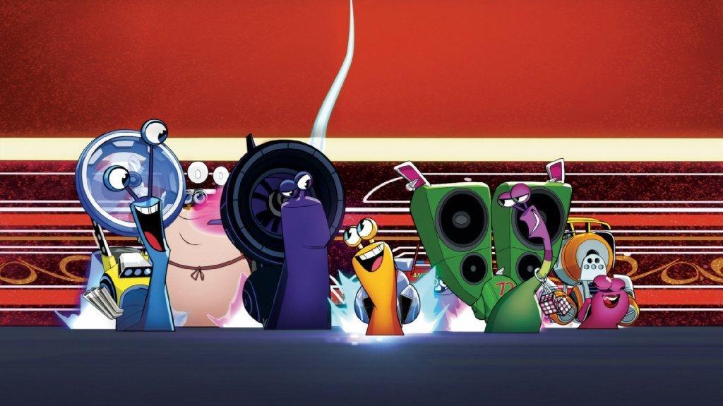 "Skidmark, left to right, Chet, Whiplash, Turbo, Smoove Move and Burn in Netflix's ""Turbo."""