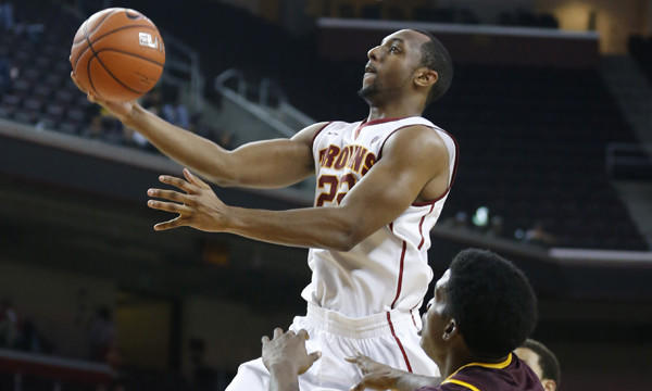 USC's Byron Wesley puts up a shot during a game against Arizona State on Jan. 9. Wesley did not travel with the Trojans during their recent road trip because an unspecified violation of team rules.