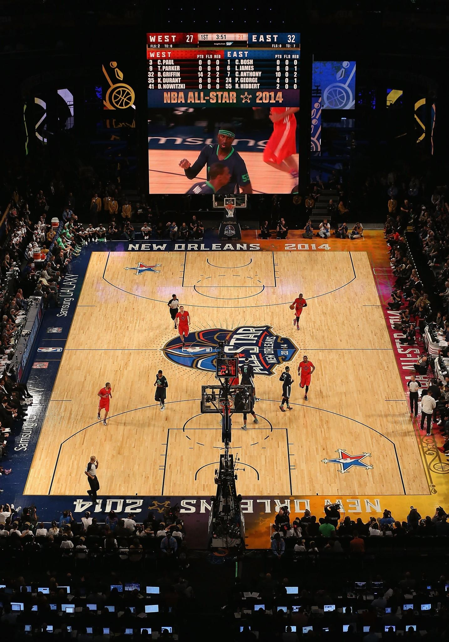 General view of the action between the Eastern Conference and Western Conference during 2014 NBA All-Star game at the Smoothie King Center.