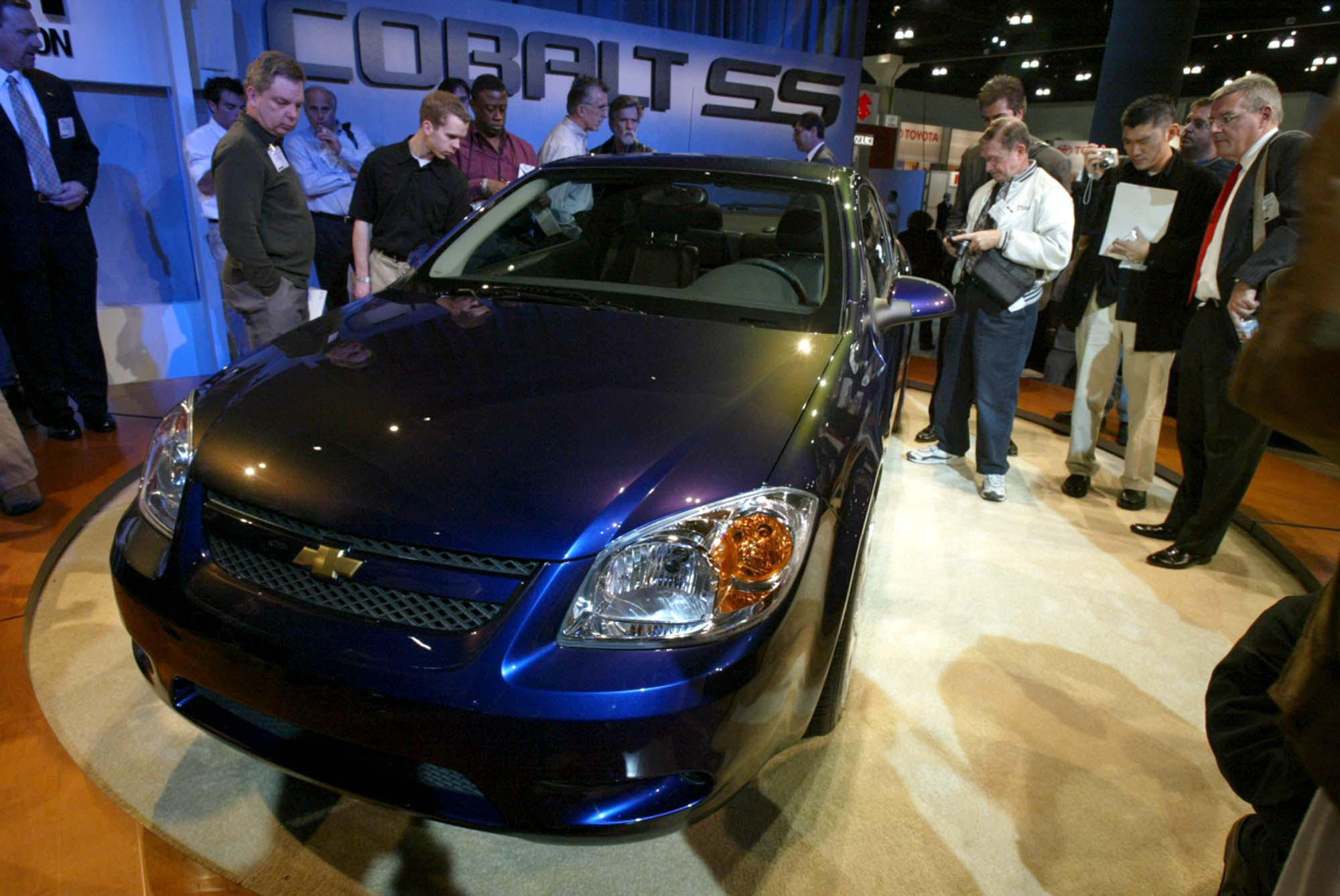 A new 2005 chevrolet cobalt is displayed at the los angeles auto show in 2003