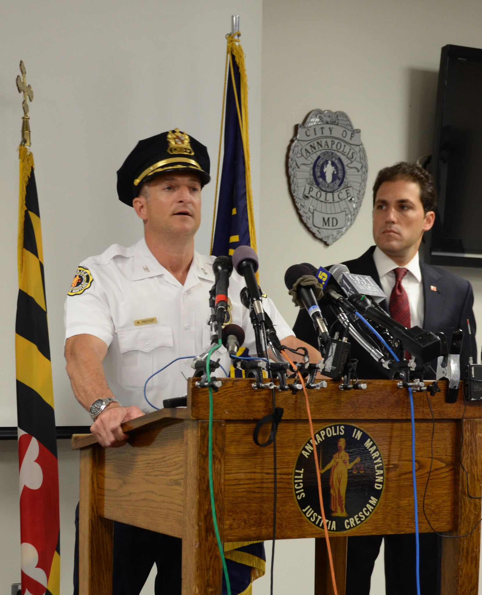 Annapolis Police Chief Michael Pristoop discusses details of a police-involved shooting during a press conference at the department's headquarters Tuesday morning.