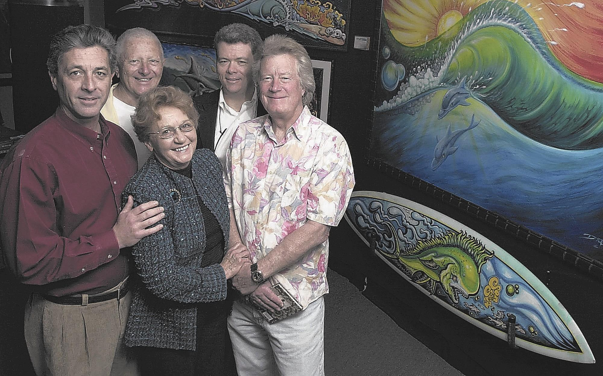 From left, Gary Sahagen, Don MacAllister, Natalie Kotsch, Doug Traub and Dean Torrence of Huntington Beach's International Surfing Museum. Kotsch, the museum's founder, died at the age of 76.