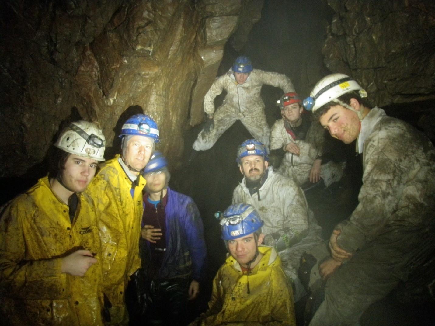 Troop 76 scouts take a break in Clarkesville Cave. Cole Starrett, Harry Starrett, Rigby Michaelsen, Justin Casalino, John Boysen, Brenton Arena, Tyler Drake, and Chris Weiland.