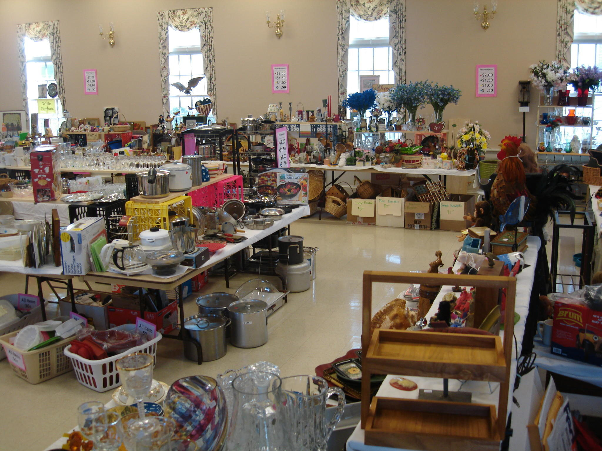 Rummage Sale at Avon Congregational Church has tables full of treasures.