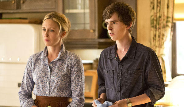 "Vera Farmiga and Freddie Highmore star in ""Bates Motel."""