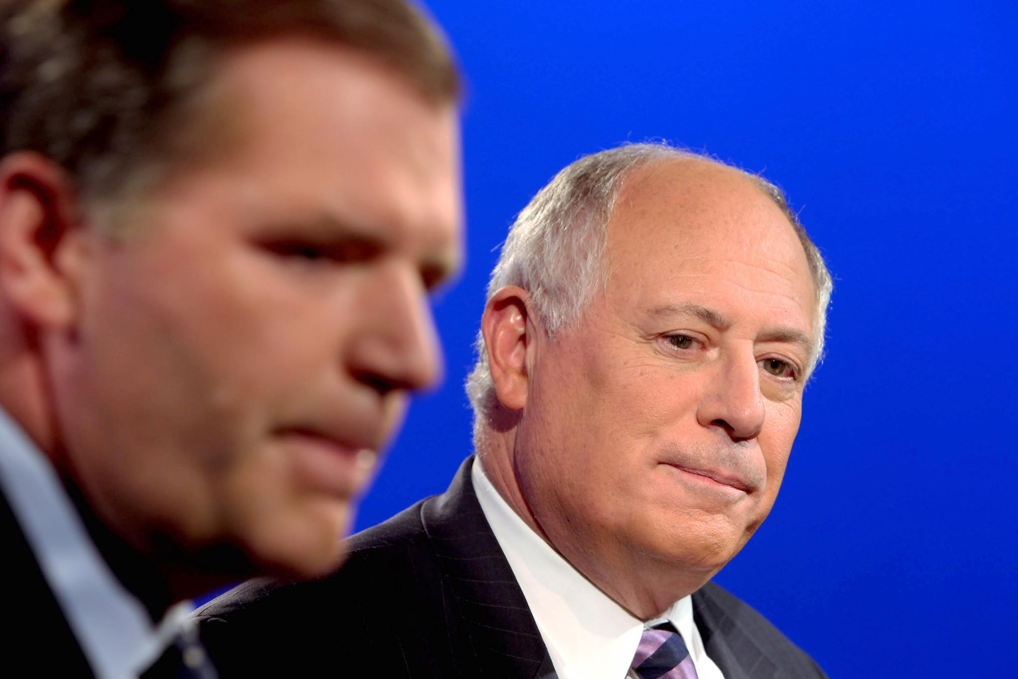 Illinois Gubernatorial candidates Bill Brady, left, and Gov. Pat Quinn prepare to debate.